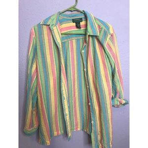 COLORFUL THRIFTED COLLARED SHIRT